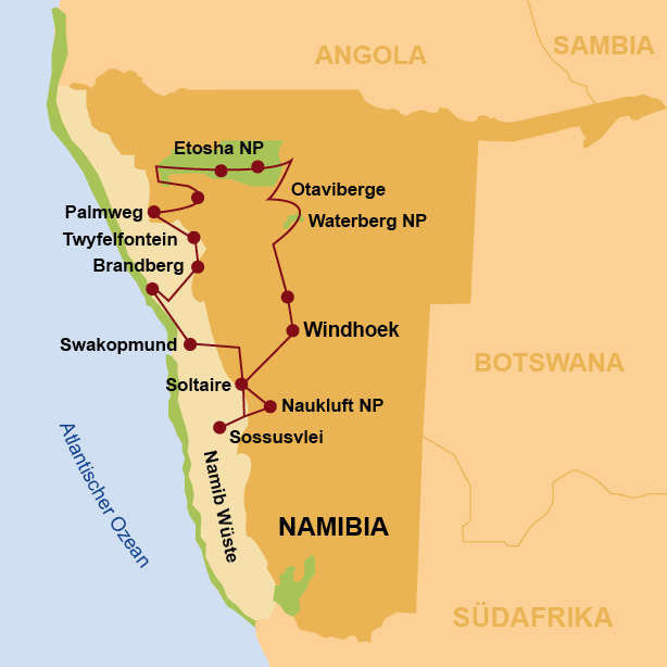 Namib Wüste Karte.Namibia Reise Afrika Zelt Travel To Life